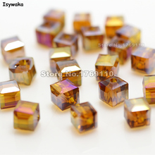 Isywaka 100pcs Deep Brown AB Color Square 6mm Austria Crystal Beads Charm Glass Beads Loose Spacer Bead for DIY Jewelry Making(China)
