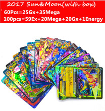 Hot Anime 60pcs 100pcs Sun Moon English Trading Cards Figure GX EX Mega Cards Japan Charizard Cartes Toy For Children Gift Toy