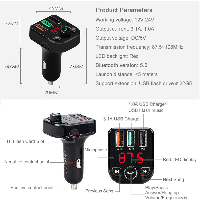 E0029 Bluetooth Handsfree FM modulator (18)