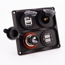 Car Cigarette Lighter Socket Panel Waterproof Dual USB Auto Charger 3.1A RV Yacht Vehicles Chargers Red LED Voltmeter Ammeter