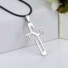 Fashion Necklaces JESUS Cross Pendant 316L Stainless Steel Necklaces & Pendants Leather Chain Women & Men Jewelry YK3024(China)