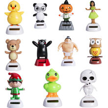 Pudcoco Home Desk Table Car Decor Cartoon Animal Solar Powered Dancing Swinging Toy Figures 1Pcs
