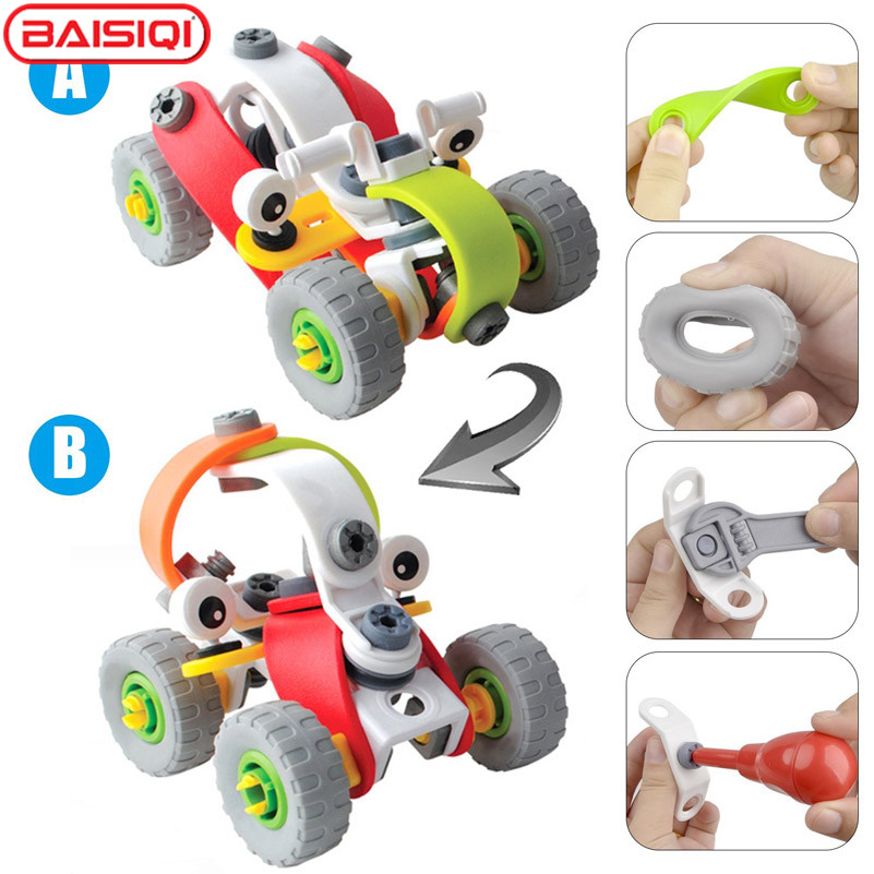 novelty creative assembly racing car 2 in 1 model building kit kids educational buildplay block diy stacking toy for boy girl