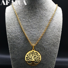 2017 Fashion Tree of Life Stainless Steel Necklaces Women Jewlery Gold Color Round Long Necklaces Jewelry collares joyas N18042(China)