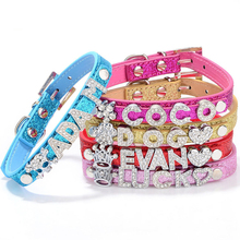 DIY Pet Name Lovely Puppy Dog Cat Chain Bling Rhinestone PU Leather Pet Collar ( Unique DIY Name, Free Letters and Charms )