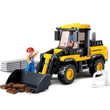 BOHS City Demolition Bulldozer Road Roller City Construction Vehicles Building Blocks Toys(China)