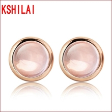 Fashion Rose Plated Natural Ross Quartz Stone Earrings Round Pink Crystal Stud Earrings For Women Bijoux Fine Jewelry