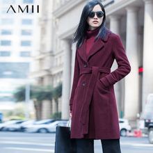 Amii Casual Women Woolen Coat 2017 Winter Single Breasted Belt Turn-down Collar Female Wool Blends(China)