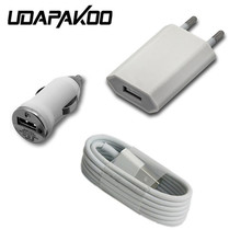 good quality eu USB Wall charger adapter + usb car charger + 8pin usb charging cable charger for iphone 5 5s 6 6s plus 7 se(China)