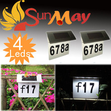 Pathway Stairs solar door plate indicator lamp Solar Number Plate Light 4Led Stainless Steel Solar Doorplate Solar House Number