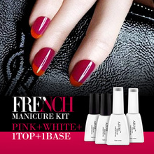 AZURE French color gel 4Pcs/lot sparkle French manicure Purple Red UV gel polish & red nail gel  base top coat French style