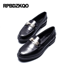 British Style Round Toe Loafers Black Ladies Platform Size 34 Flats Footwear 2017 Patent Leather Designer Shoes Women Luxury(China)