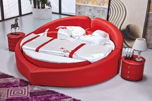 The modern design of the soft leather bed / gold / large double bedroom furniture, modern style round bed room