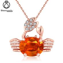 2017 New Design Fashion Rose Gold Plating Cubic Zirconia Lovely Crab Cancer Pendant Necklaces Jewelry For Women Girl Friend Gift(China)