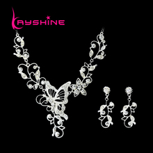 Bridal silver Color Jewelry Sets Silver Color Leaf Hollow Out Butterfly Necklace and Flower Earrings For Wedding Dress
