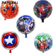 10pcs/lot 18inch hero balloons Avengers Spiderman Batman Supreman foil balloon Children birthday party supplies baby toys ballon(China)