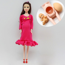 1pcs DIY Brown hair Real pregnant mom doll have a baby in her tummy for barbie dolls child toy gift er028(China)