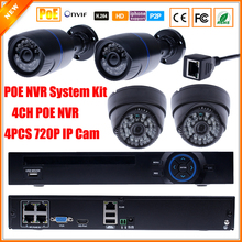 Motion Detect IP Camera Surveillance System PoE NVR Camera Kit 4CH PoE NVR Recorder System H.264 ONVIF 2.0 With 4 Cameras