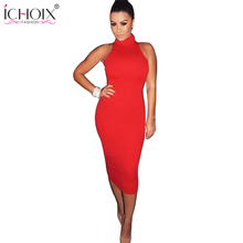 2017 Women Summer Sexy Bandage Dress Lady Sleeveless Knee Length Pencil Dress Sexy Red Turtleneck Evening Party Vestidos Dresses
