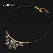 YFJEWE Fashion crystal pendant Exquisite Rhinestone Necklace Wholesale Newest Fashion Cortex Chain Collar Necklace Jewelry N001