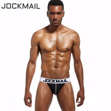 Buy JOCKMAIL Brand Men Mesh Jockstrap Underwear/G-Strings & Thongs Sexy Gay Underwear Exposed buttocks Hollow sissy penis pouch Fun