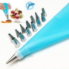 LINSBAYWU Silicone Icing Piping Cream Pastry Bag+14Nozzle Set Cake Decorating Baking Tool