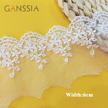 10yrd/lot Width:6cm Fancy polyester embroidered lace to sew Flower design net lace trims Scrapbooking accessories(ss-6693)