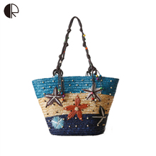New Style Bohemian Women Cane Hand Embroidered Starfish Straw Bag Summer Essential Beaded Weave Woven Bag Women Handbag BH903(China)