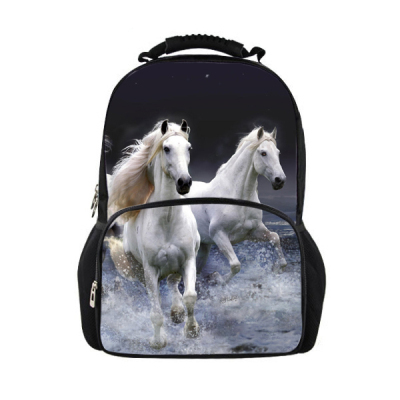 Hot Fashion Children School Backpacks 3D Crazy Horse Animal Print Boys Teenager Backpacks Mens Shoulder Travel Backpack Mochila<br>