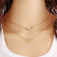 Summer Geometric Triangle Leaves Alloy Gold Color Multilayer Chains Necklace Imitation Pearl Bead Sequins Necklaces For Women