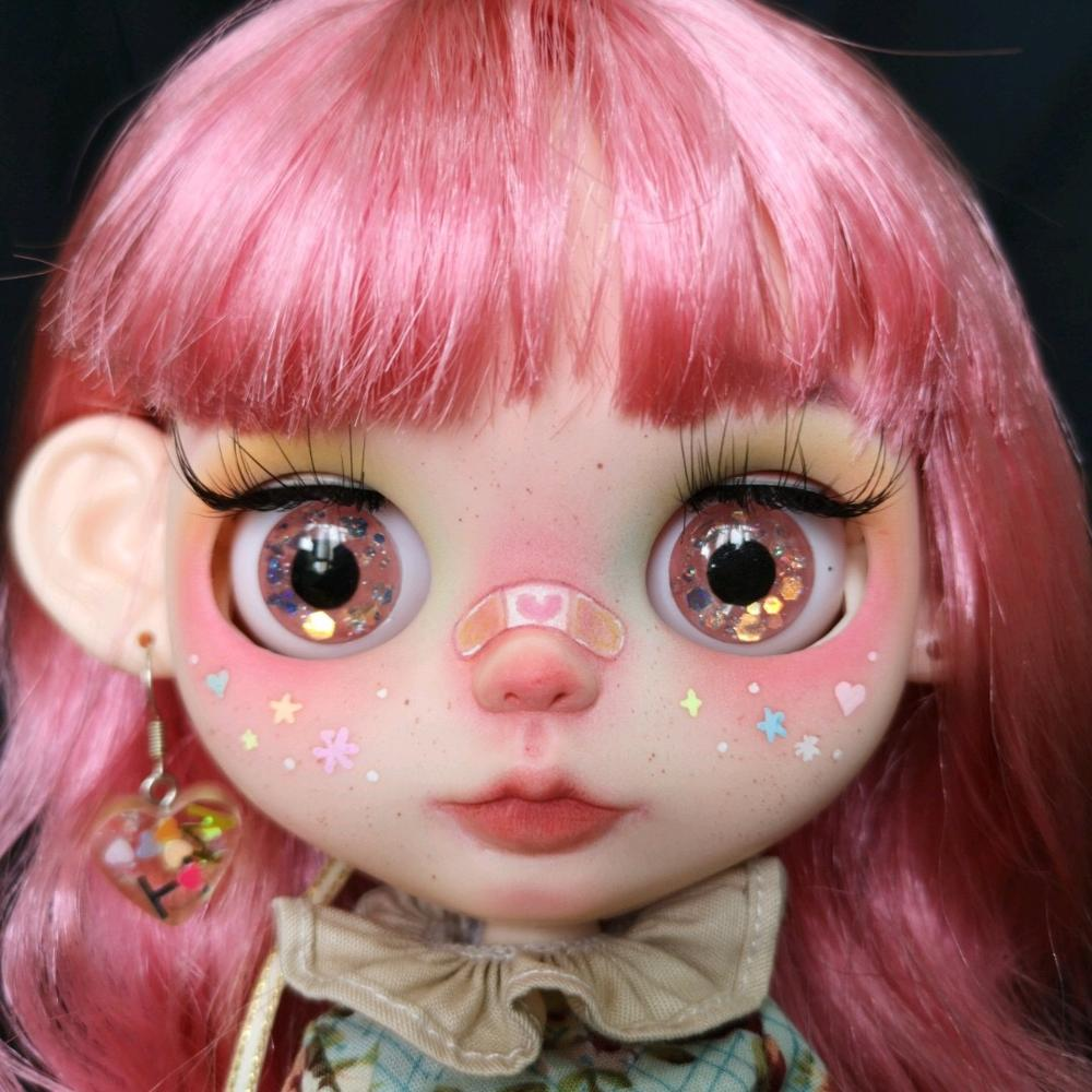 12inch Doll Smiling Faceplate Head Shell with Beauty Teeth for Blythe Doll