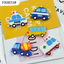 FOURETAW 1 Psc Cartoon Kawaii Transport Tool Taxi School Bus Police Car Fridge Magnets Education Kids Toys Souvenir Wall Sticker