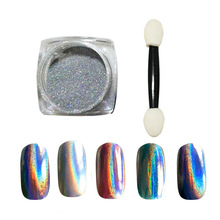 New 1g/ box Mirror Powder Laser Silver Pigment Powder Chrome Pigment Rainbow Shiny Nail Glitters Nail Art Sequins