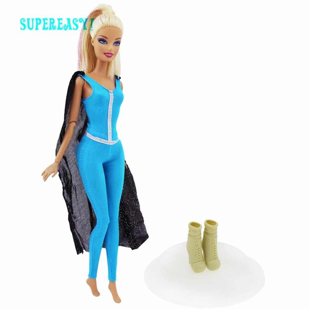 2 Item   1x Outfit Black Cloak Blue Jumpsuit Superwoman + 1x High Heels  Boots Clothes 758ece1e5d2a