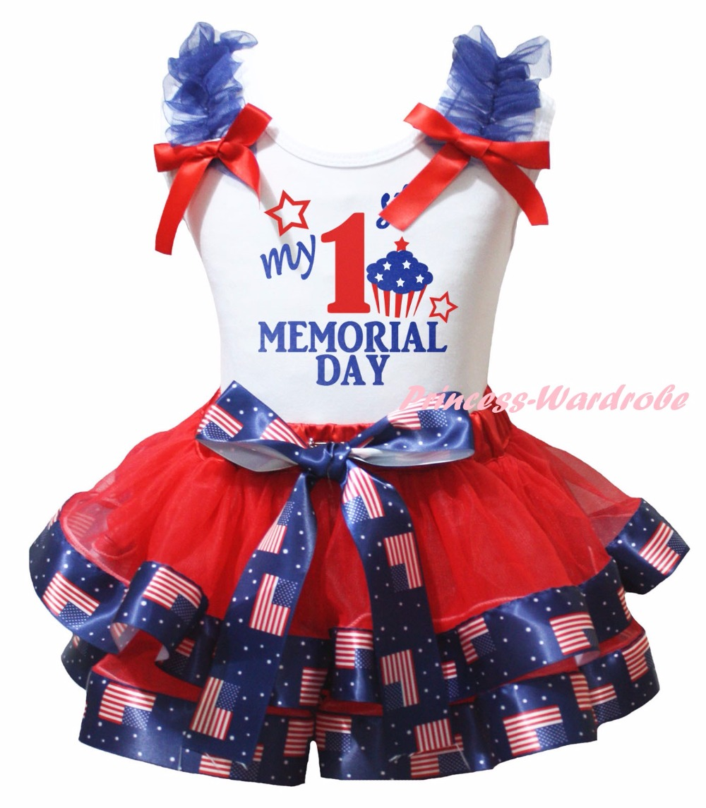White Cotton Shirt America Flag Petal Skirt Girl Outfit Set Dress My 1st-6th Memorial Day Costume Nb-8y LKPO0042<br>