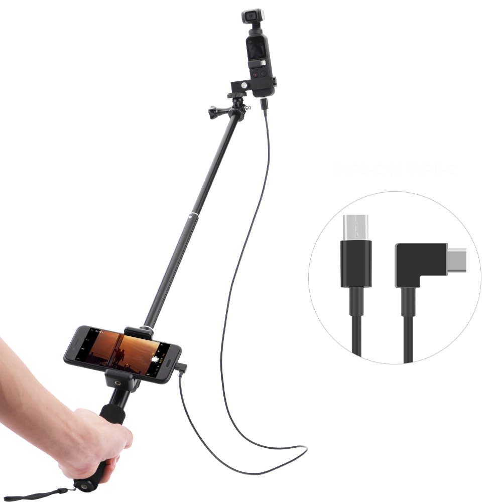 Selfie Stick for DJI OSMO Pocket 2 Handheld Gimbal Stabilizer Cable for Type-c IOS Android Phone  Clip Module Extension Pole
