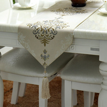 Fashion Home Amazing Imitated Silk Fabric Golden Jacquard table runner Lace Luxury Table flag and Placemat 003(China)