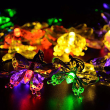 20 LEDs Butterfly Lamp Solar Power Decorative String Lights Waterproof For Gardens