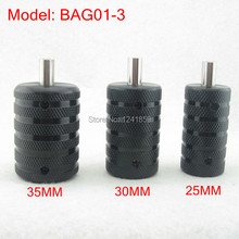 3pcs Knurled Black Aluminum Tattoo Grip Tube With Back Stem For Tattoo Machine Power Kit Set Supply BAG01-3#(China)