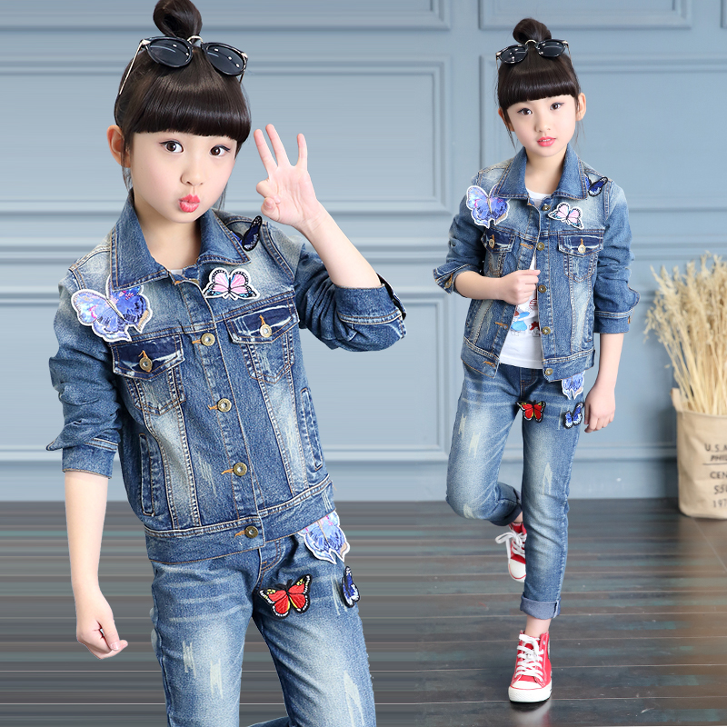2017 spring fall childrens fashion cowboy suit 4-13 year old girl labeling butterfly washing classic two-piece <br><br>Aliexpress