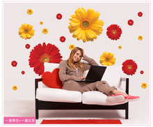 1Set ZY6015 rDaisy Flower Living Room Vinyl 3D Wall Stickers Window Decor Bedroom Wall Decals Sticker To The Kitchen On The Door(China)