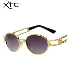 XIU Steampunk Sunglasses Clear Lens Glasses Gothic Flat Top Vintage Round Glasses Men Women Luxury Brand Designer Eyewear UV400(China)