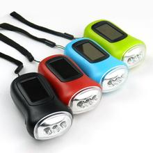 Random color Led Flashlight Built in rechargeable battery Hand crank chargeable protable Mini Flashlight