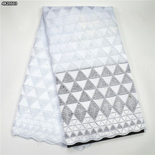 Special offer African swiss voile lace fabric cotton nigeria dry lace with stones high quality african lace white 4N205