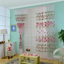 2Pcs 100cmx200cm Offset Printing Flower Pattern Voile Drape Panel Sheer Window Curtain pink/purple/blue/green(China)