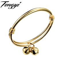 TENGYI Fashion Gold Color Lovely Children Kid Boy Girl Infant Baby Bangle Bracelet Gift  Lucky Newest  Bells Bangle TY487