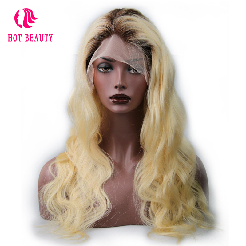 Hot Beauty Hair T4/613 Blonde Color 18 24 inch Brazilian Body Wave Remy Hair Full Lace Wigs Hand Made Human Hair Wig(China)