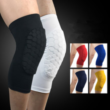 2 pieces short elastic football basketball sleeve men leg knee support sleeve honeycomb crashproof block design knee pad protect(China)