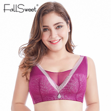 FallSweet Plus Size Vest Bra No Wire Lace Brassiere with Mesh Wide Strap Soft Women Lingerie C D Cup 34 to 52(China)