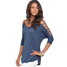 Women Sexy Shoulder Off Shirts 2017 Summer Beach Tshirt Ladies Elegant Tops Shirts Strapless Hollow Out Batwing Sleeve Tops S/XL